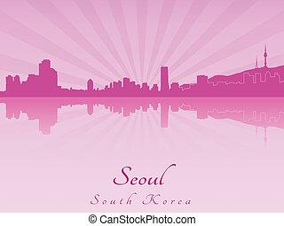 紫色, 放射, スカイライン, ソウル, 蘭