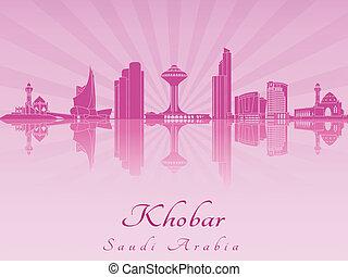 紫色, 放射, スカイライン, khobar, 蘭