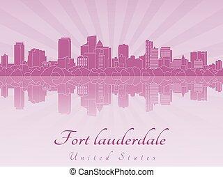 紫色, 放射, スカイライン, lauderdale, 城砦, 蘭