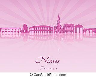 紫色, 放射, スカイライン, nimes, 蘭