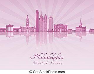 紫色, 放射, フィラデルフィア, スカイライン, v3, 蘭