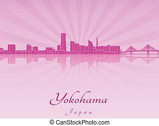 紫色, 放射, 蘭, スカイライン, 横浜