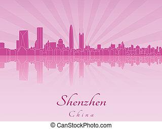紫色, 放射, 蘭, スカイライン, shenzhen