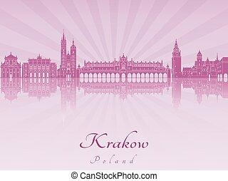 紫色, 放射, krakow, スカイライン, 蘭
