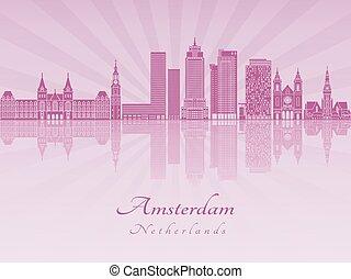 紫色, 放射, v2, スカイライン, アムステルダム, 蘭