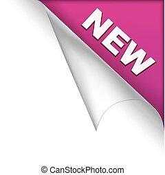 紫色, 新しい, ページ, コーナー