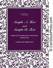 紫色, 框架, 矢量, 邀请