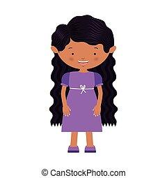 紫色, 毛, 女の子, 波状, 服