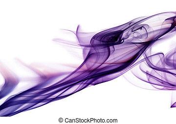 紫色, 煙, 中に, 白い背景