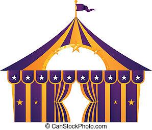 紫色, 白, サーカス, 隔離された, テント
