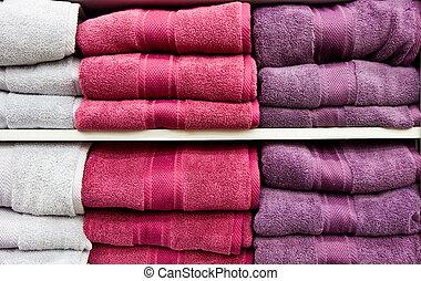 紫色, 白, タオル