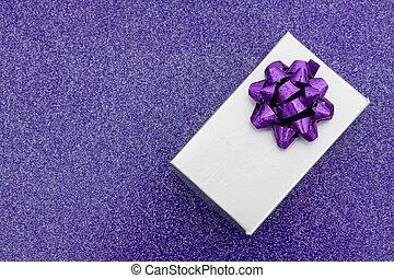 紫色, 禮物, 銀, 背景, 弓