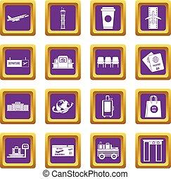 紫色, 空港, セット, アイコン