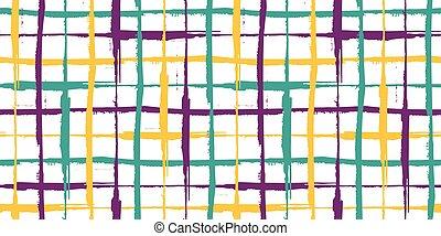 紫色, 線, 幾何学的, border., 手, 噛み合いなさい, criss, 黄色, きずもの, 流行, 抽象的, 格子, スタイル, design., 白, ベクトル, 交差点, トルコ石, 引かれる, はたを織りなさい, グランジ, 線である, seamless, 効果, banner., ブラシの 打撃