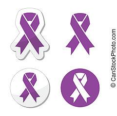 紫色, 膵臓, -, リボン, がん