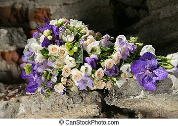 紫色, 花束, 白, bridal