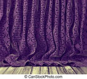 紫色, 花, 背景, カーテン