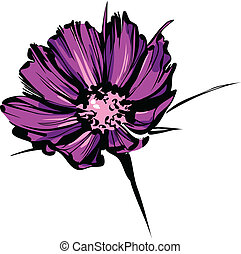 紫色, 野生, スケッチ, 花, 明るい