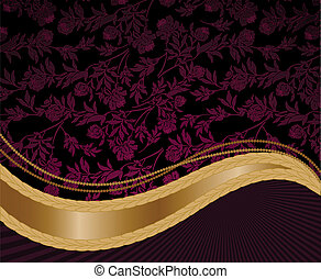 紫色, 金 背景, 波