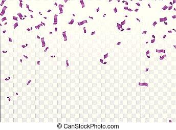 紫色, 隔離された, イラスト, ベクトル, 焦点がぼけている, 背景, 紙ふぶき, 透明, 株