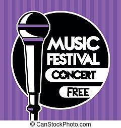 紫色, 音楽, オーディオ, マイクロフォン, 背景, 祝祭, ポスター