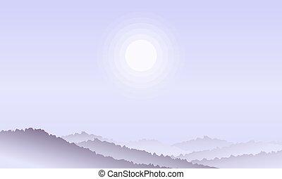紫色, 風景, sky., 背景, 太陽, 山, 自然, シルエット