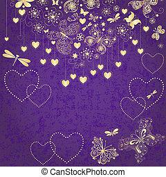 紫色, grunge, 情人節, 框架