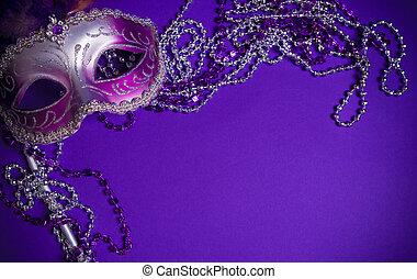 紫色, mardi-gras, ∥あるいは∥, ベニスのマスク, 上に, 紫色の背景