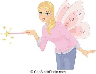 細い棒, イラスト, 教師, 衣装, 女の子, 妖精