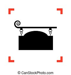 細工された鉄, 印, ∥ために∥, 旧式, design., 黒, アイコン, フォーカスで
