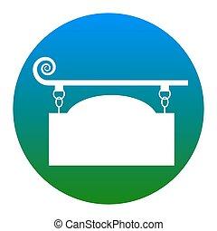 細工された鉄, 印, ∥ために∥, 旧式, design., vector., 白, アイコン, 中に, 薄青い, 円, 白, バックグラウンド。, isolated.