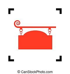 細工された鉄, 印, ∥ために∥, 旧式, design., vector., 赤, アイコン, 中, 黒, フォーカス, コーナー, 白, バックグラウンド。, isolated.