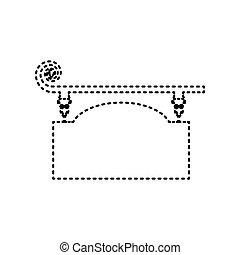 細工された鉄, 印, ∥ために∥, 旧式, design., vector., 黒, 急いで行った, アイコン, 白, バックグラウンド。, isolated.