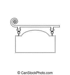 細工された鉄, 印, ∥ために∥, 旧式, design., vector., 黒, 点を打たれた, アイコン, 白, バックグラウンド。, isolated.