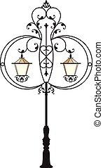 細工された鉄, 通り ランプ, ポスト