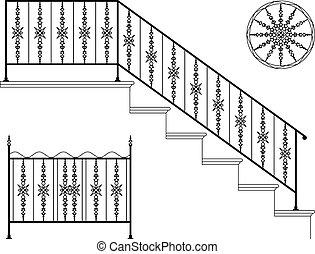 細工された鉄, 階段手すり, デザイン