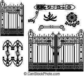 細工された, 装飾, 鉄のゲート