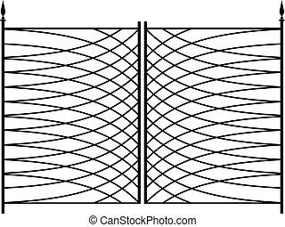 細工した鉄のゲート