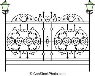 細工した鉄のゲート, ドア, フェンス, 窓, グリル, 手すり, デザイン