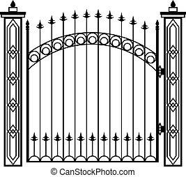 細工した鉄のゲート, 柱