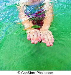 細節, ......的, 手, 游泳, 在, the, 海洋