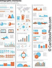 細節, infographics, set.