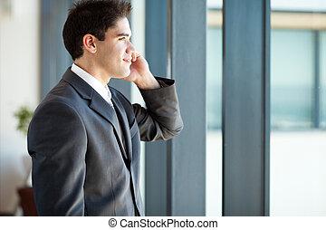 細胞, ビジネスマン, 話し, 電話