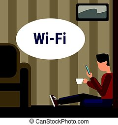 細胞, 使用, 床, wifi, インターネット, 無線の電話, 接続, によって, オンラインで, 家, モデル, 痛みなさい, 人