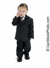 細胞, 女の子, 子供, スーツ