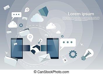 細胞, 握手, インターネット, 取引, ビジネス, 振動, businesspeople, 接続, オンラインで, 電話, 手, 痛みなさい
