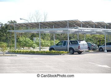 細胞, 自動車, park., 太陽, 屋根
