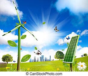 細胞, 風タービン, grows, 太陽