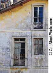 細部, の, 古い, 大きい, 捨てられた, 家