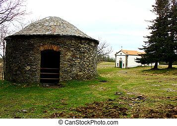 細部, の, ∥, 古い, 片岩, 家